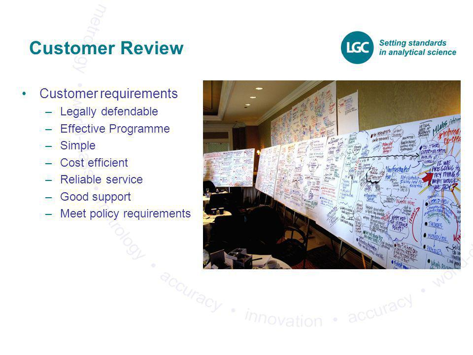 Customer Review Customer requirements Legally defendable