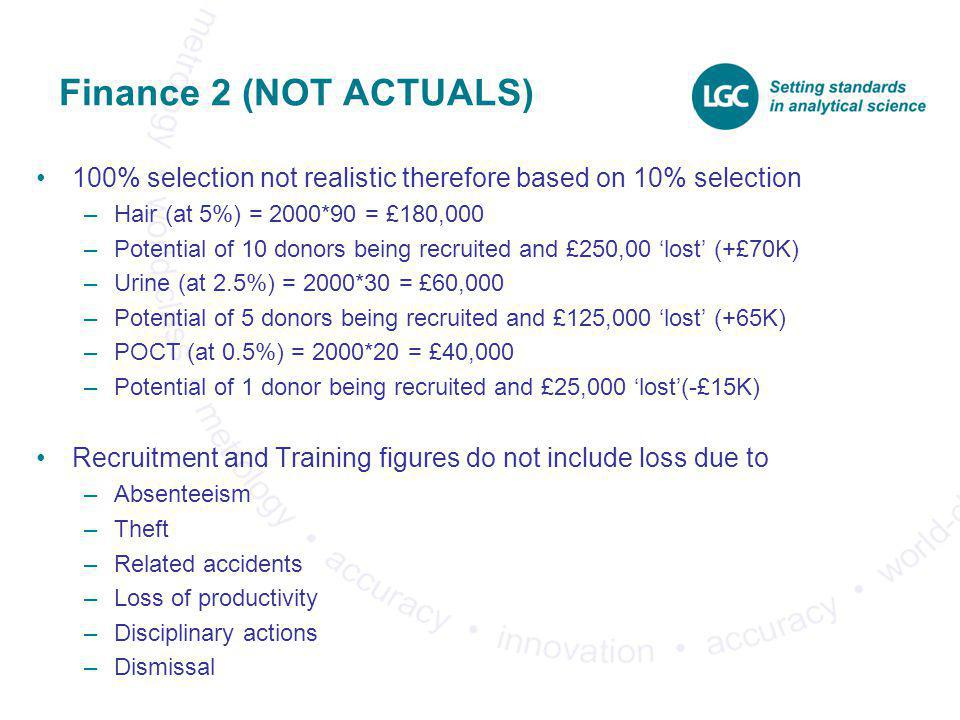 Finance 2 (NOT ACTUALS) 100% selection not realistic therefore based on 10% selection. Hair (at 5%) = 2000*90 = £180,000.