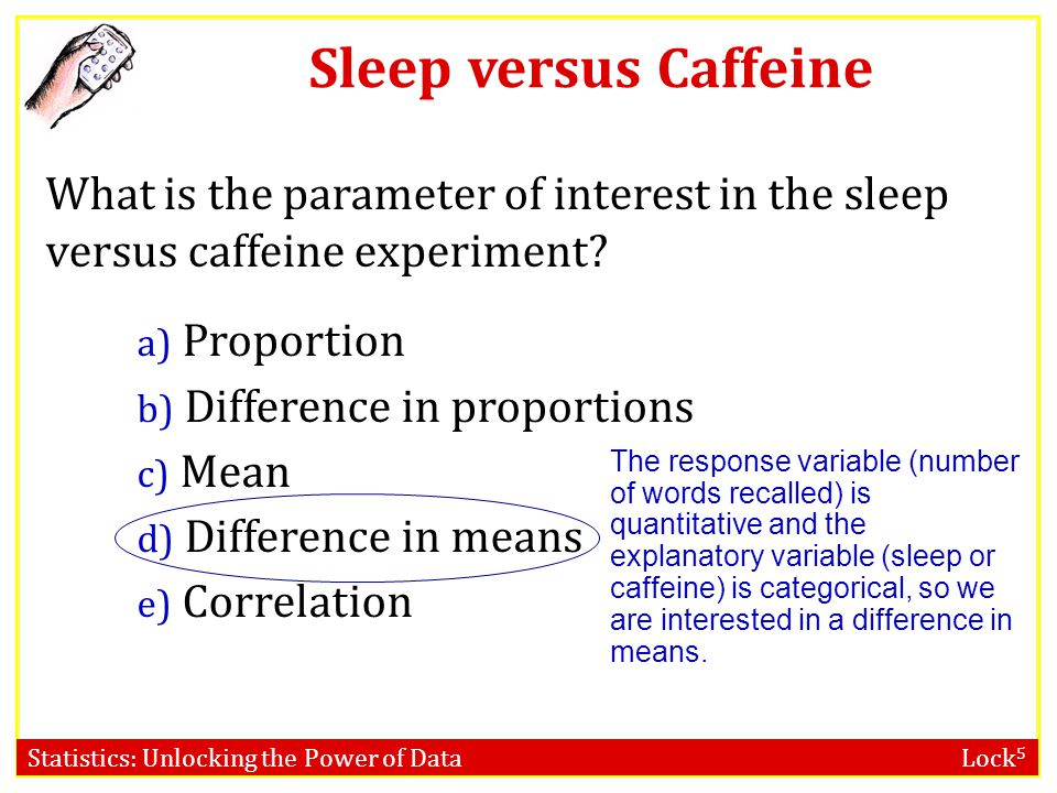 Sleep versus Caffeine What is the parameter of interest in the sleep versus caffeine experiment Proportion.