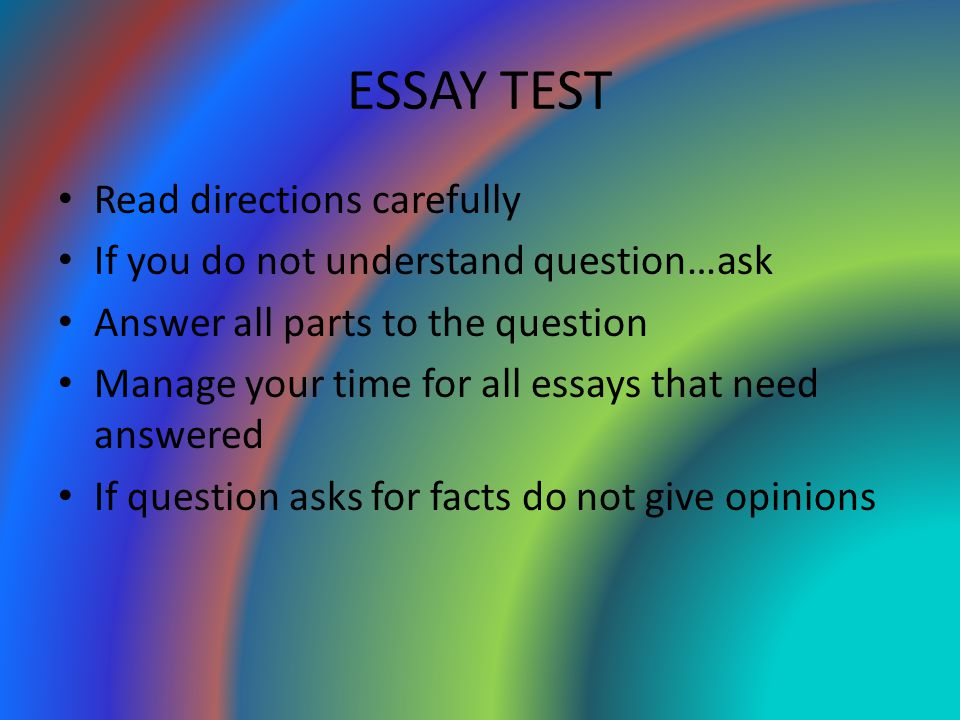 ESSAY TEST Read directions carefully