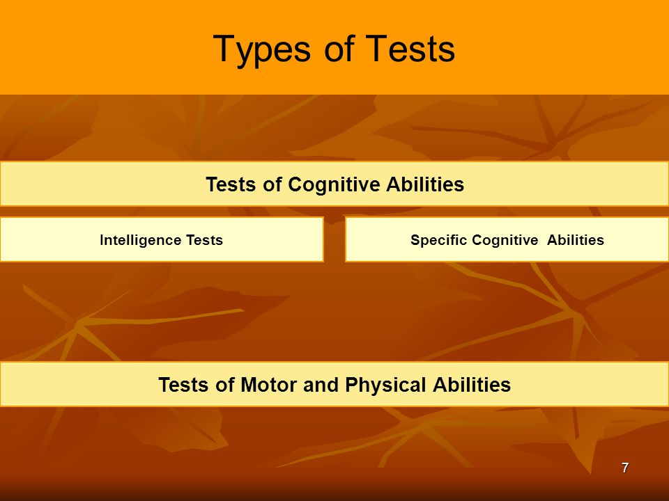 Types of Tests Tests of Cognitive Abilities