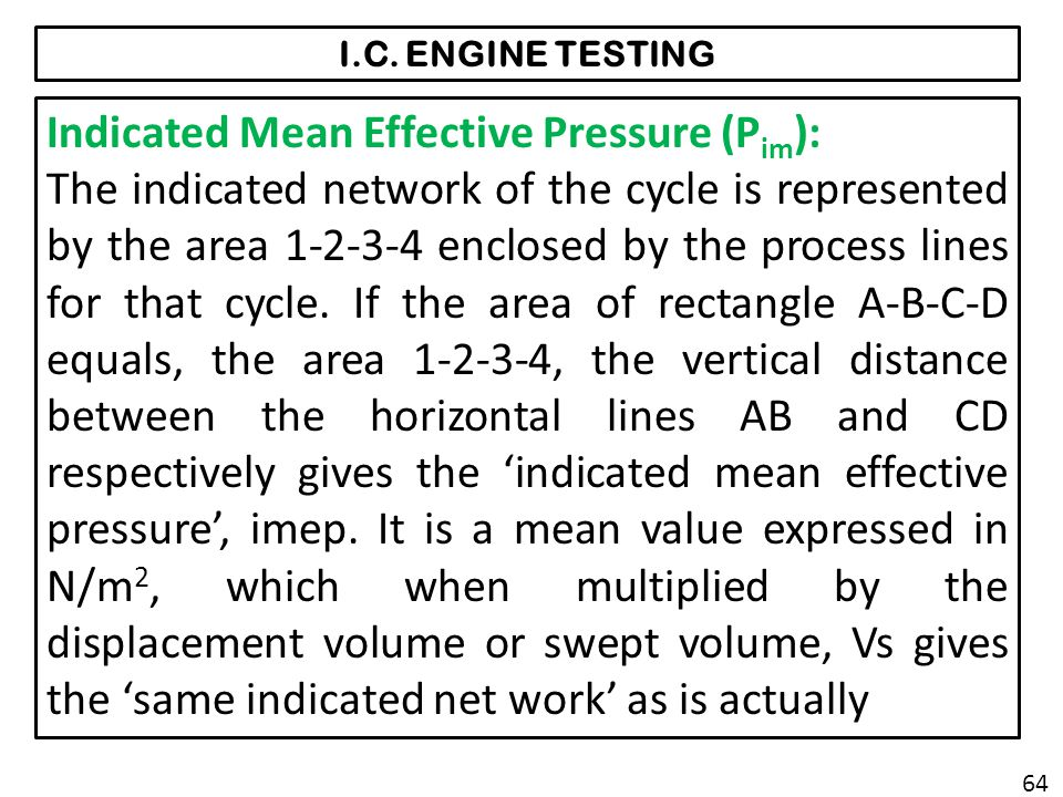 Indicated Mean Effective Pressure (Pim):