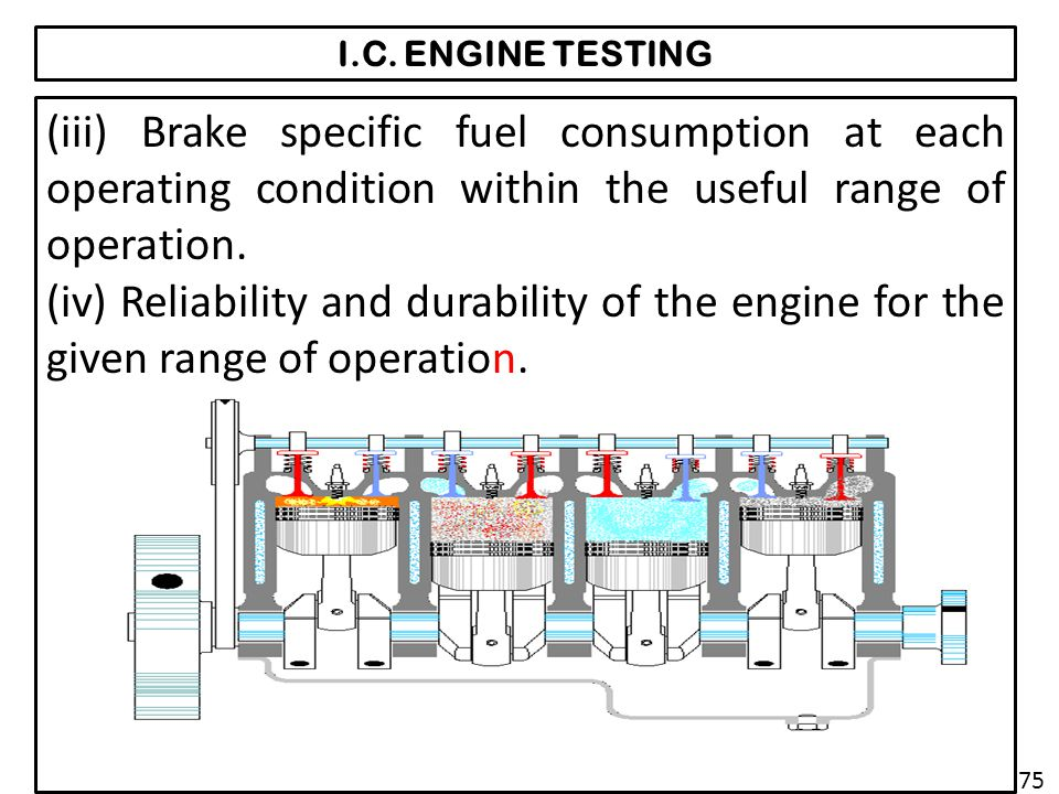 I.C. ENGINE TESTING (iii) Brake specific fuel consumption at each operating condition within the useful range of operation.