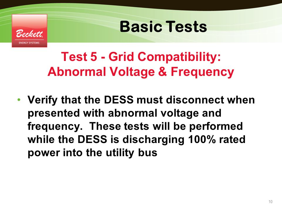 Test 5 - Grid Compatibility: Abnormal Voltage & Frequency