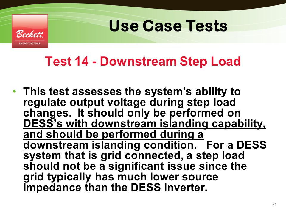 Test 14 - Downstream Step Load