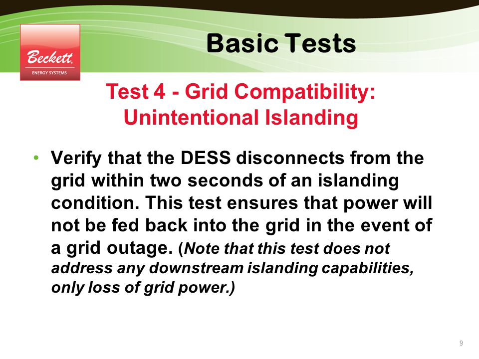 Test 4 - Grid Compatibility: Unintentional Islanding