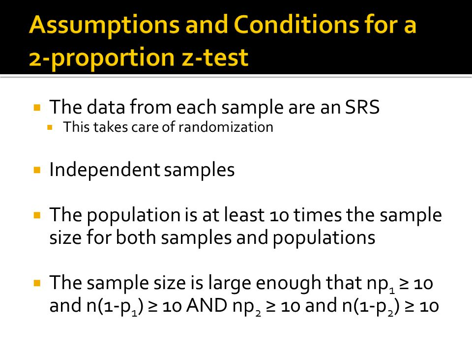Assumptions and Conditions for a 2-proportion z-test