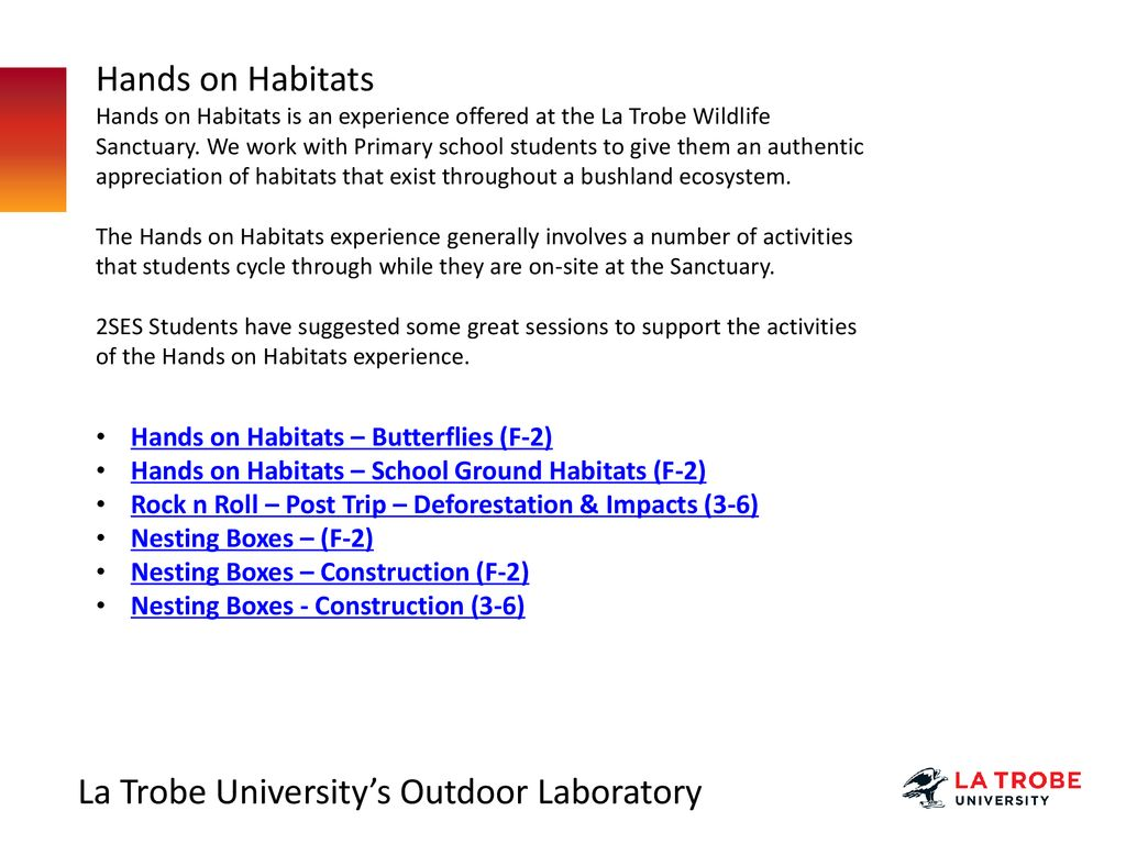 Education 2SES School Resources for Hands on Habitats Experiences