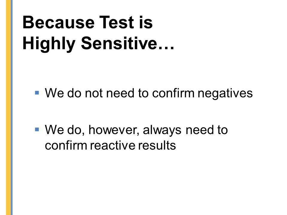 Because Test is Highly Sensitive…