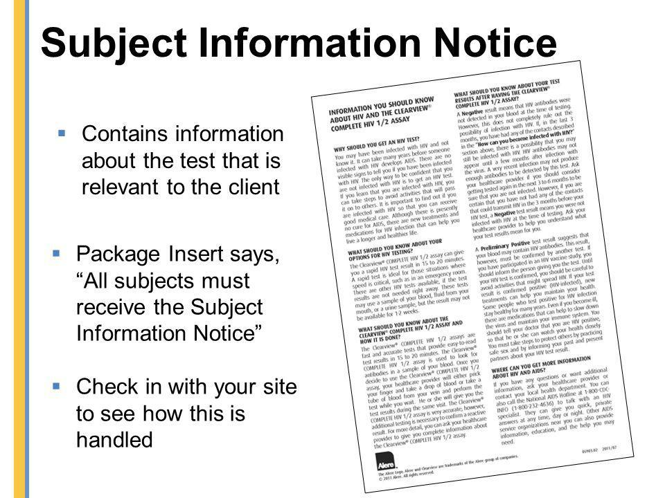 Subject Information Notice