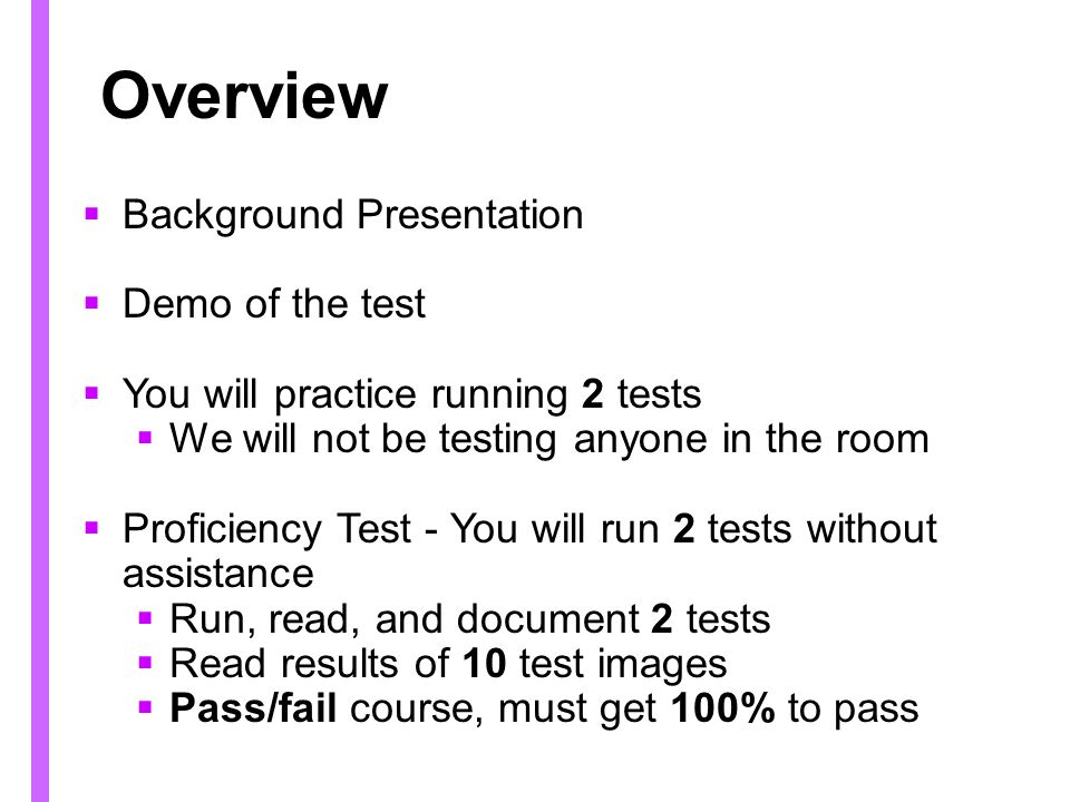 Overview Background Presentation Demo of the test