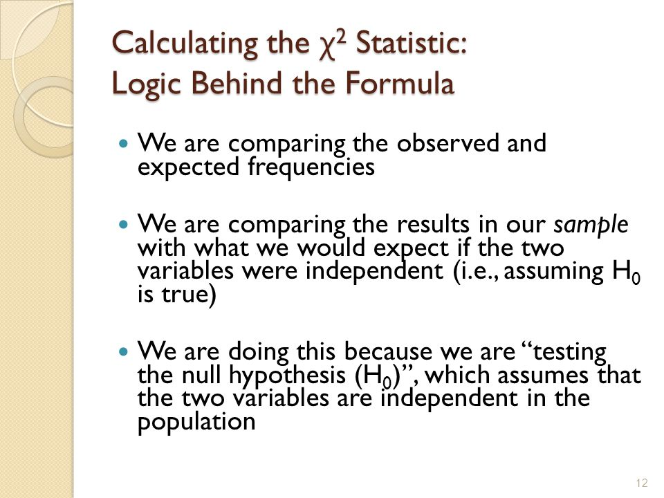 Calculating the χ2 Statistic: Logic Behind the Formula