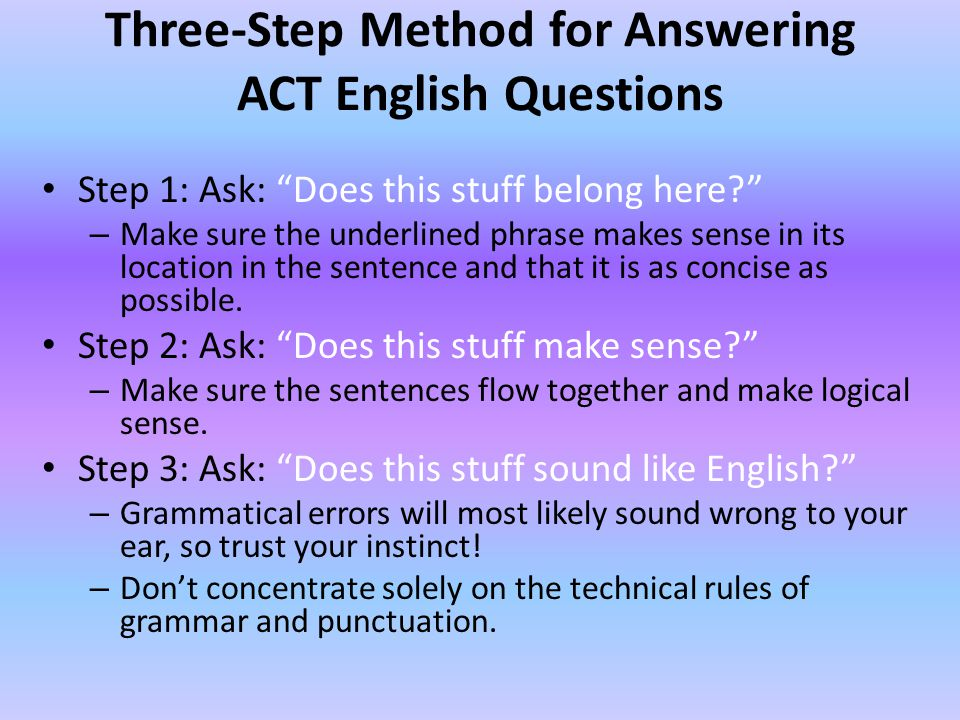 Three-Step Method for Answering ACT English Questions