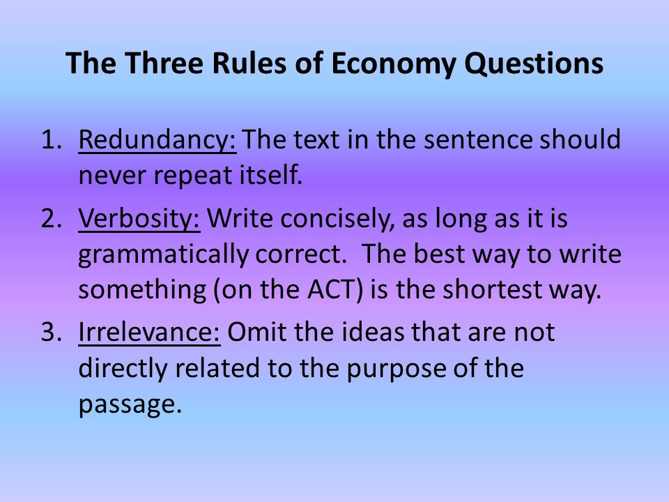 The Three Rules of Economy Questions