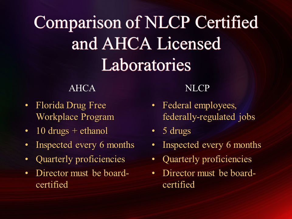 Comparison of NLCP Certified and AHCA Licensed Laboratories