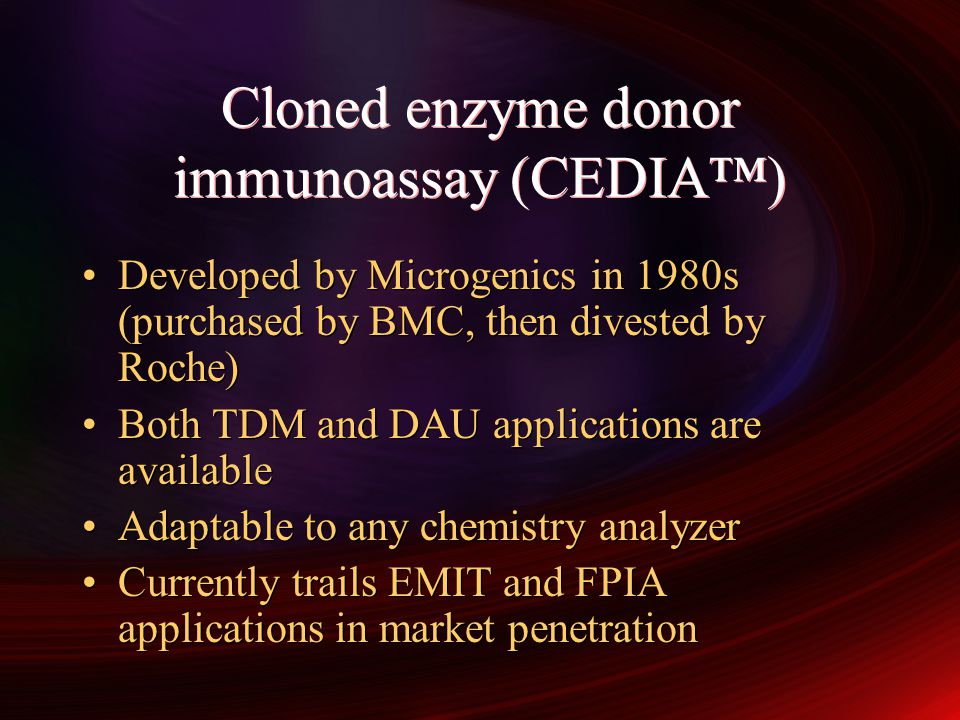 Cloned enzyme donor immunoassay (CEDIA™)