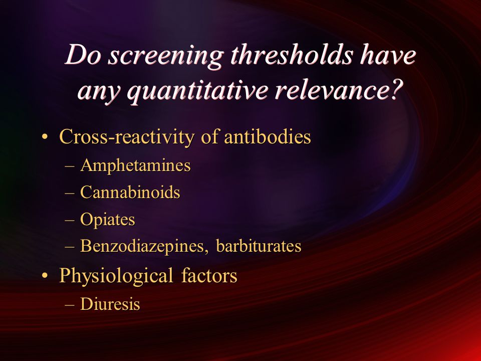 Do screening thresholds have any quantitative relevance