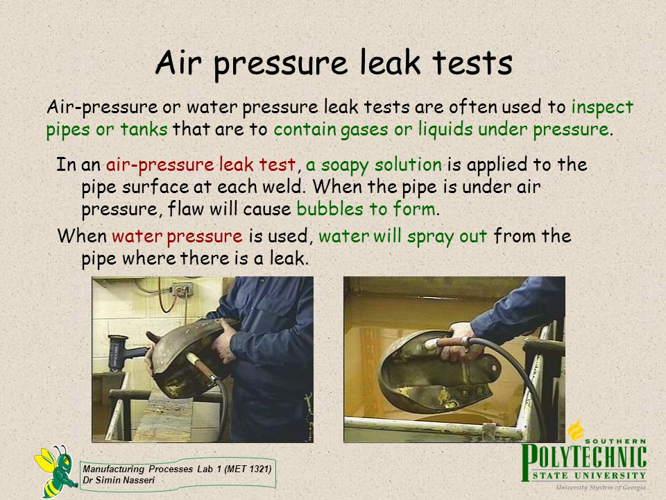 Air pressure leak tests