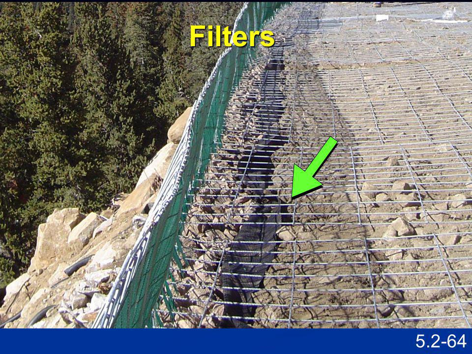 Filters Speaking Points Show locations of geotextile filters.