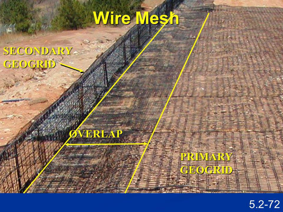 Wire Mesh SECONDARY GEOGRID OVERLAP PRIMARY GEOGRID Speaking Points
