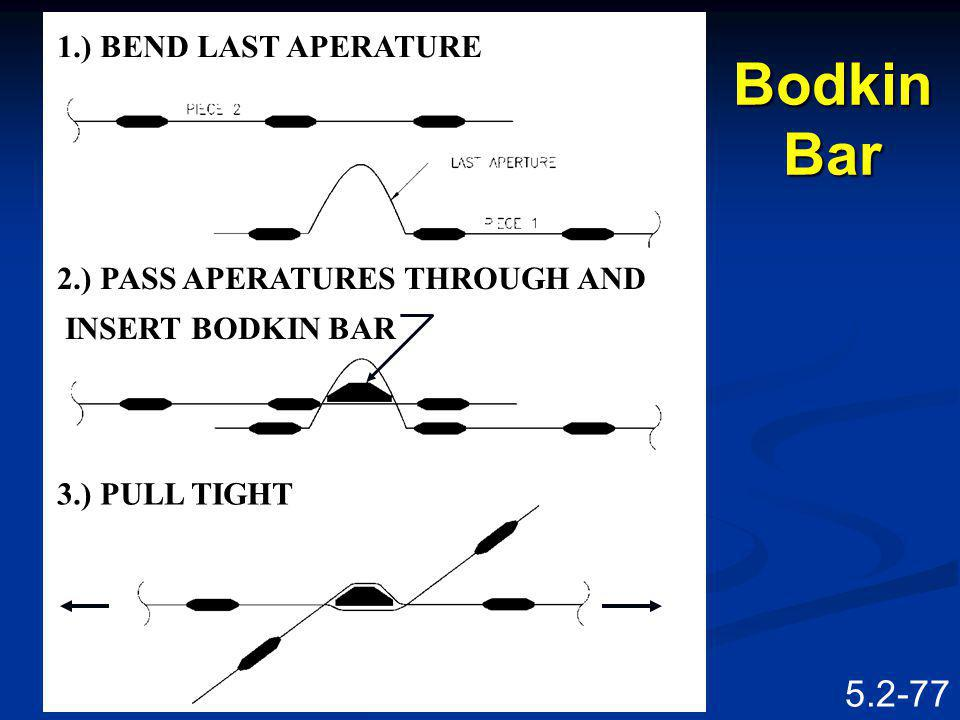 Bodkin Bar 1.) BEND LAST APERATURE 2.) PASS APERATURES THROUGH AND