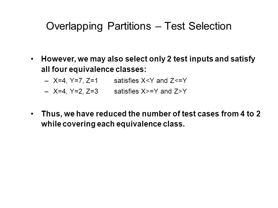 Overlapping Partitions – Test Selection
