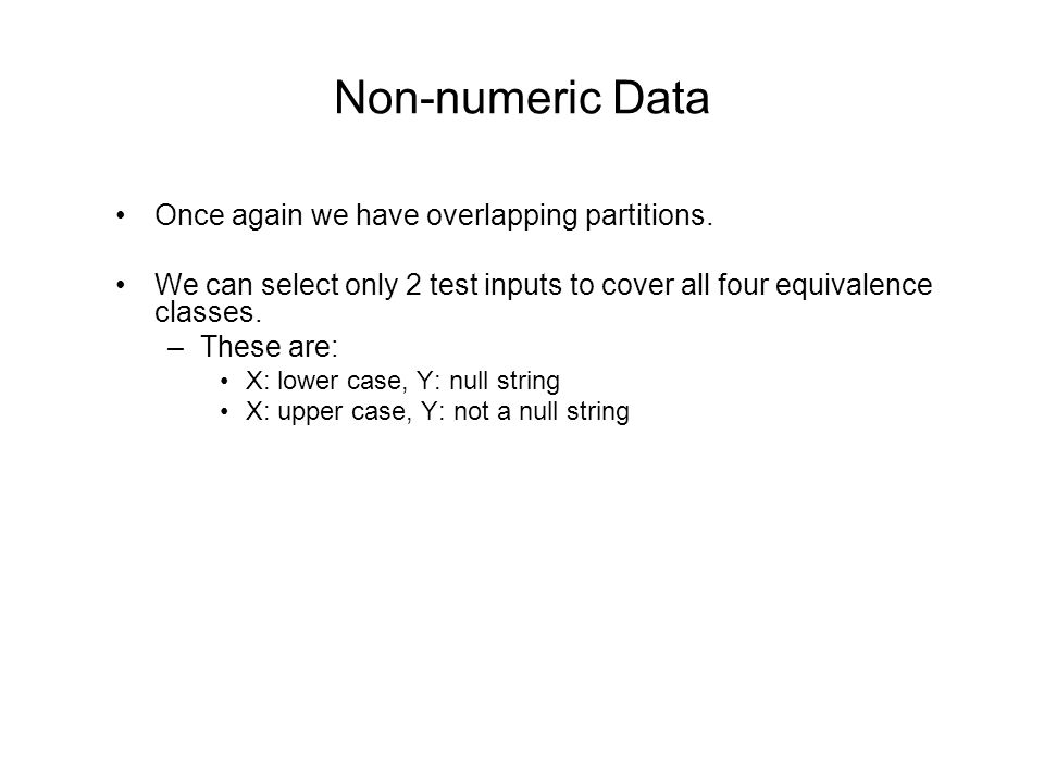 Non-numeric Data Once again we have overlapping partitions.