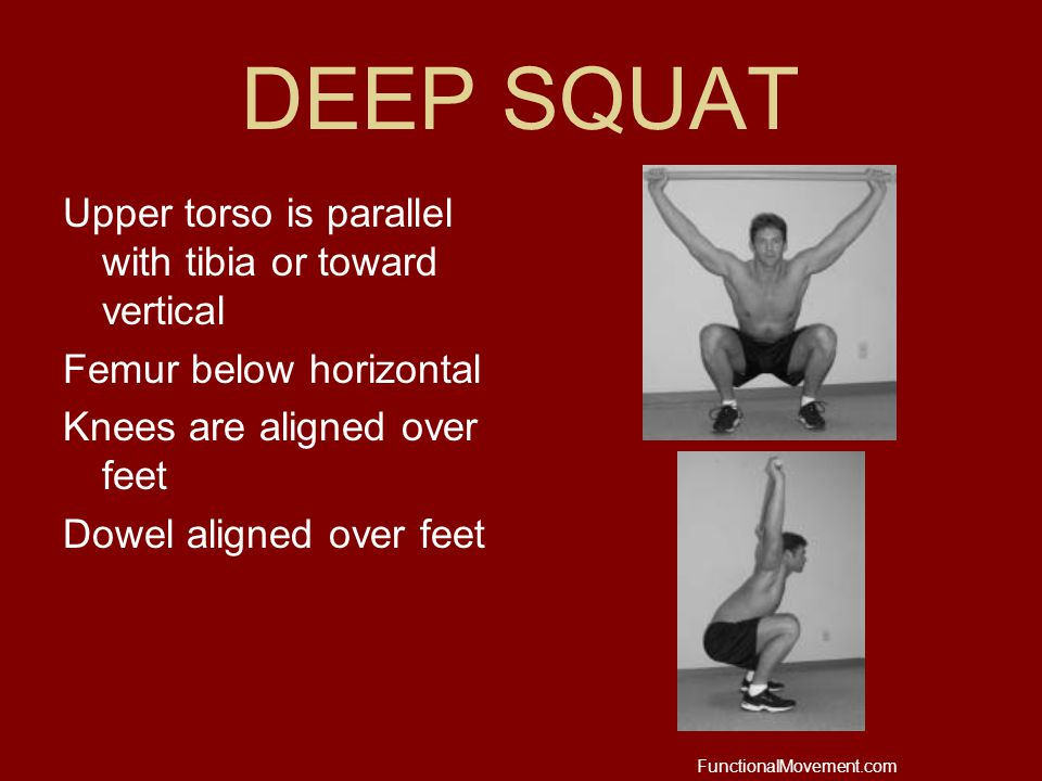 DEEP SQUAT Upper torso is parallel with tibia or toward vertical