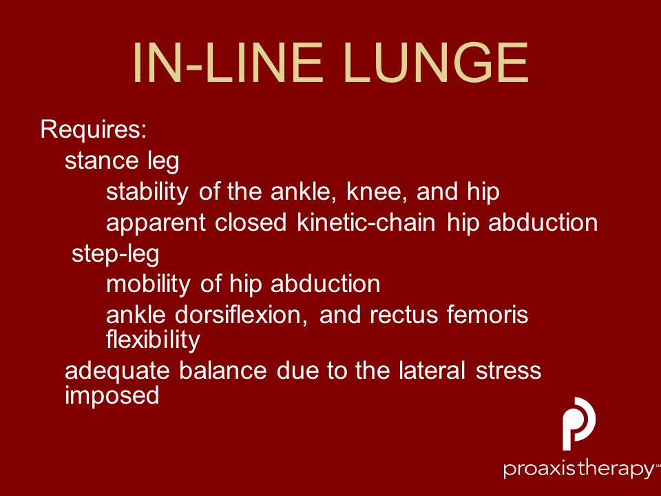 IN-LINE LUNGE Requires: stance leg