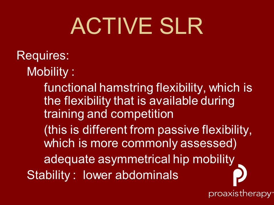 ACTIVE SLR Requires: Mobility :
