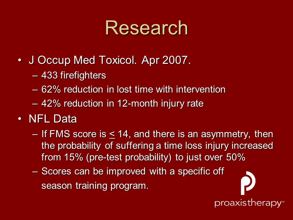 Research J Occup Med Toxicol. Apr 2007. NFL Data 433 firefighters