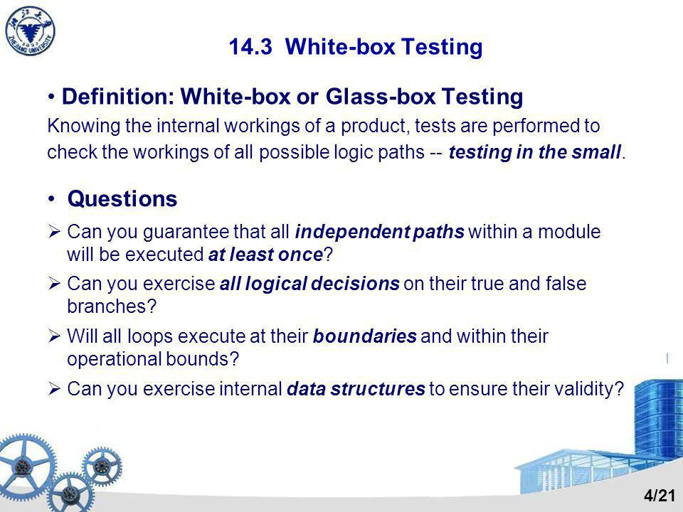 Definition: White-box or Glass-box Testing