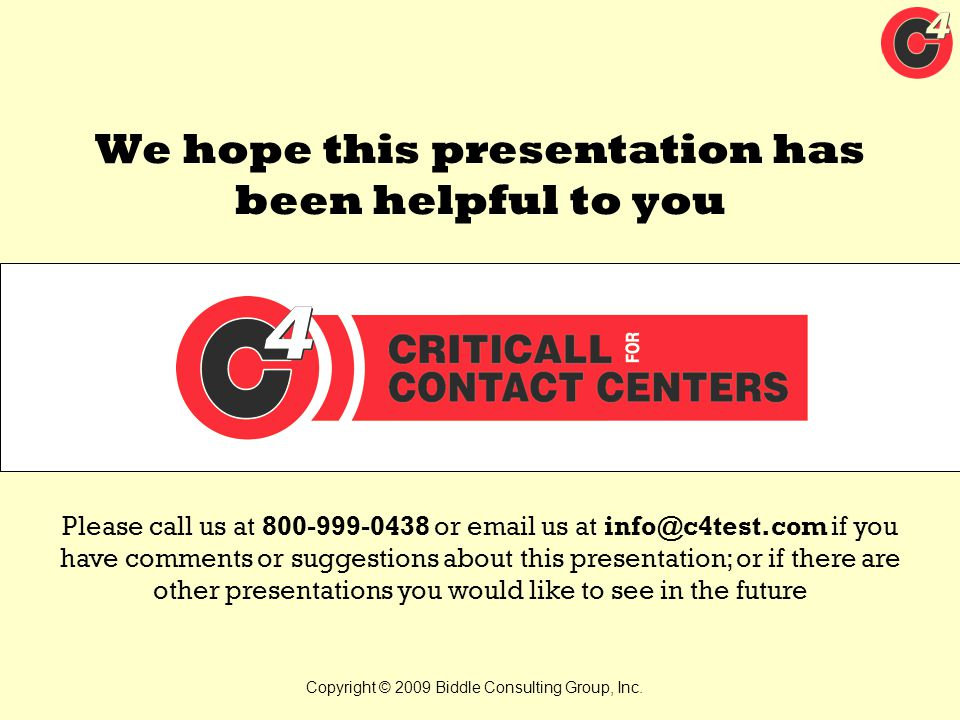 We hope this presentation has been helpful to you