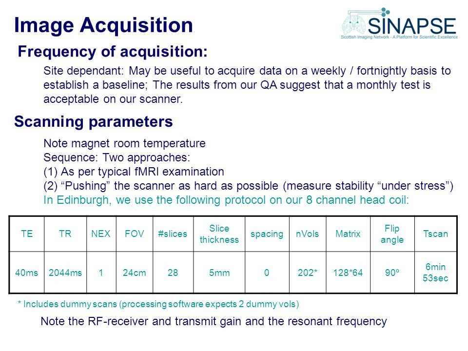 Image Acquisition Frequency of acquisition: Scanning parameters