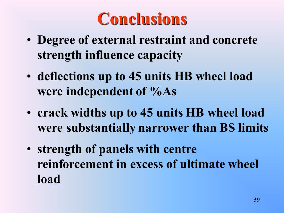 Conclusions Degree of external restraint and concrete strength influence capacity. deflections up to 45 units HB wheel load were independent of %As.