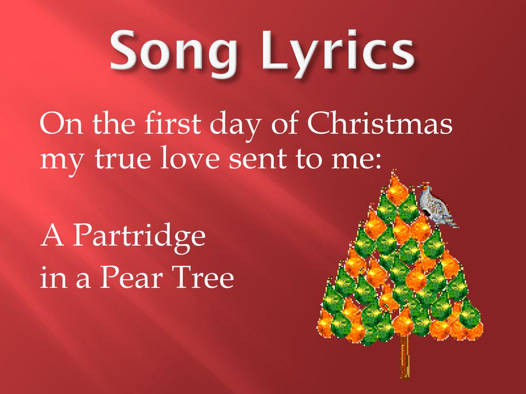 The First Day Of Christmas Lyrics.12 Days Of Christmas Ppt Download