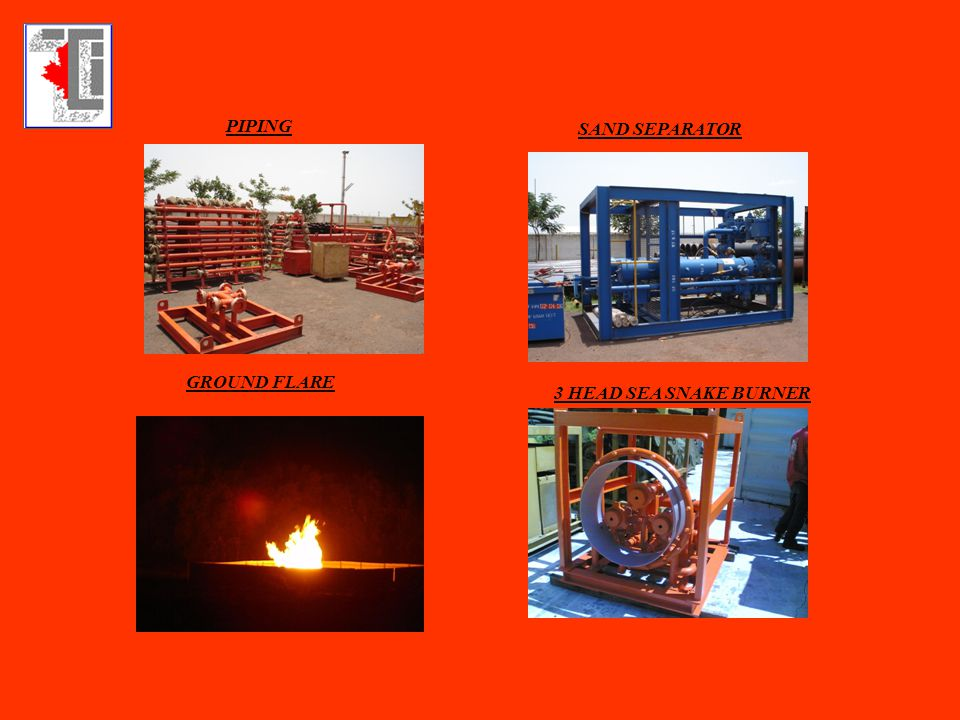 PIPING SAND SEPARATOR GROUND FLARE 3 HEAD SEA SNAKE BURNER