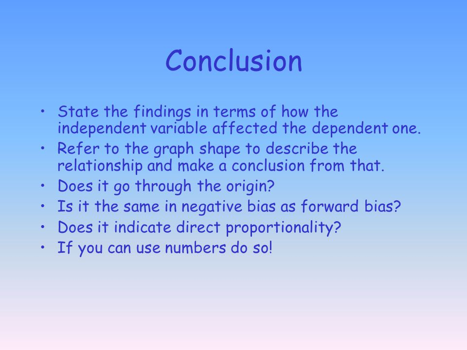 Conclusion State the findings in terms of how the independent variable affected the dependent one.
