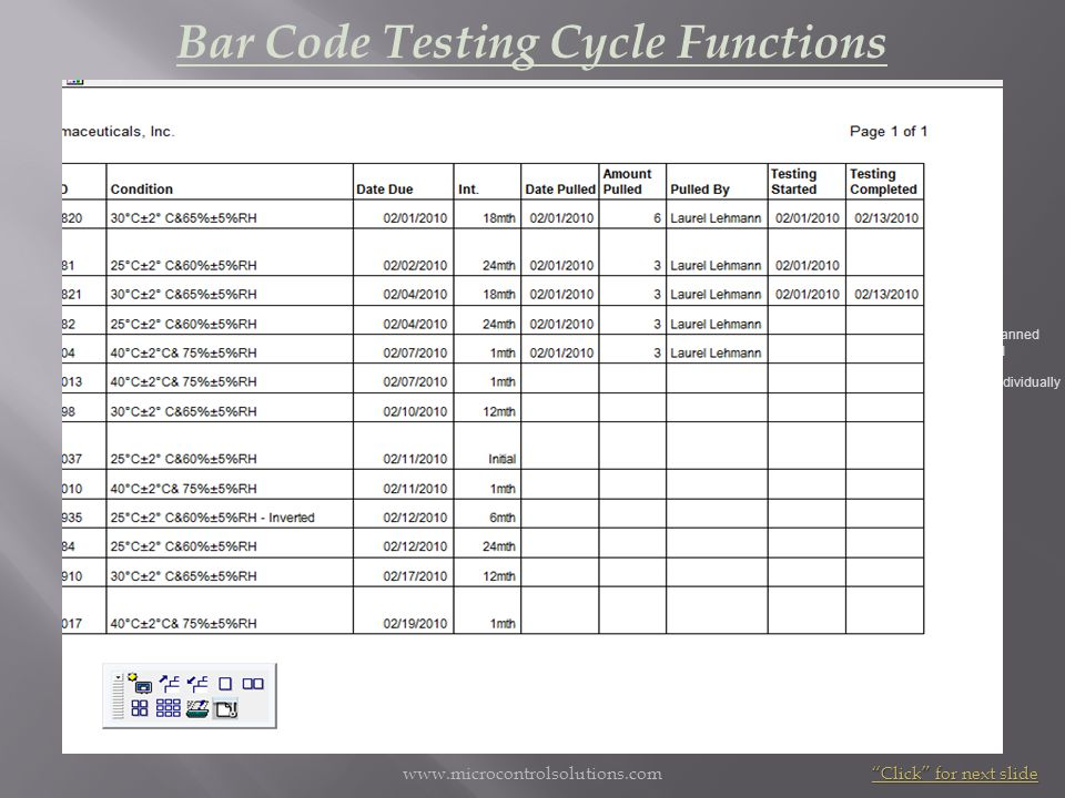 Bar Code Testing Cycle Functions