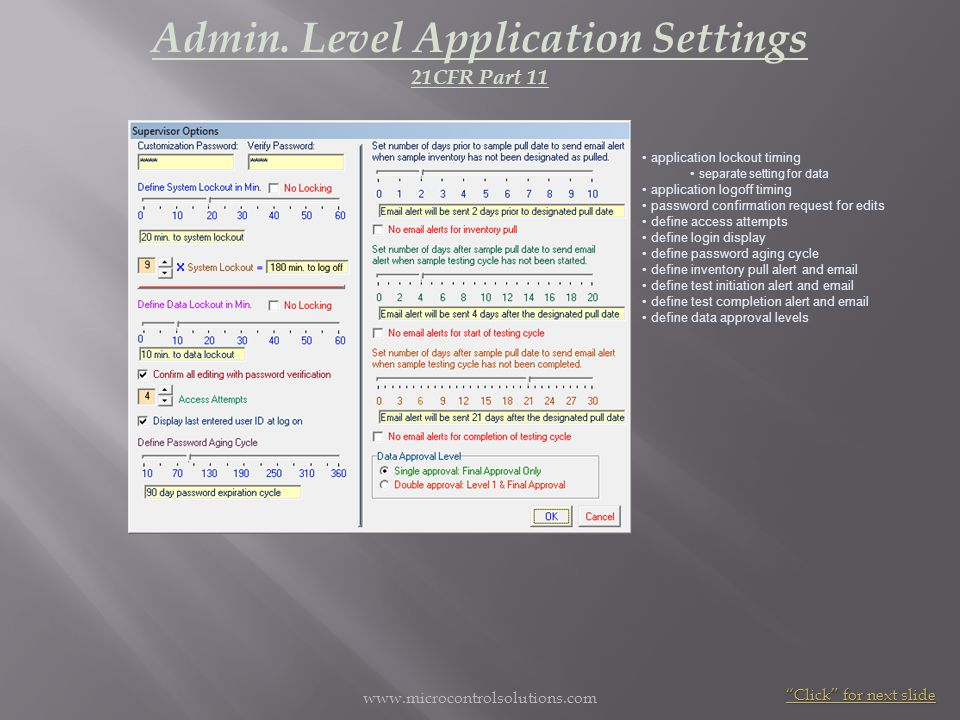 Admin. Level Application Settings