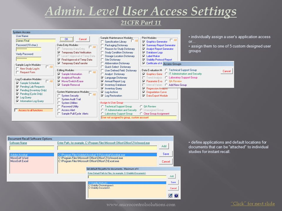 Admin. Level User Access Settings