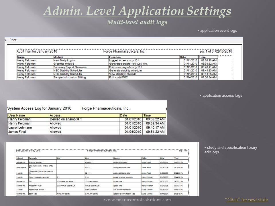 Admin. Level Application Settings Multi-level audit logs