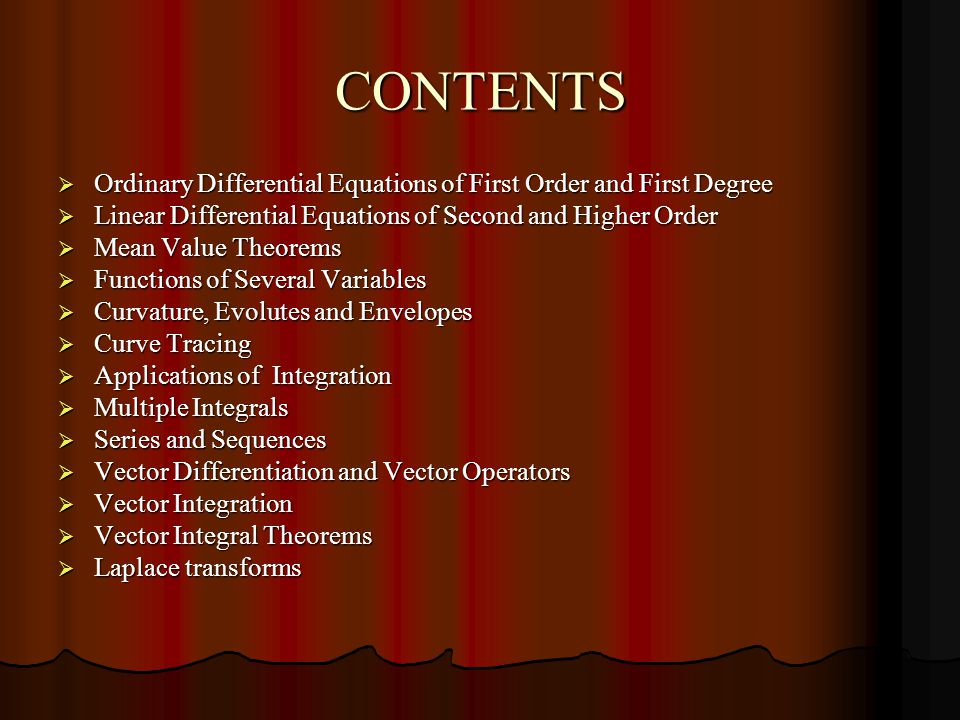 CONTENTS Ordinary Differential Equations of First Order and First Degree. Linear Differential Equations of Second and Higher Order.
