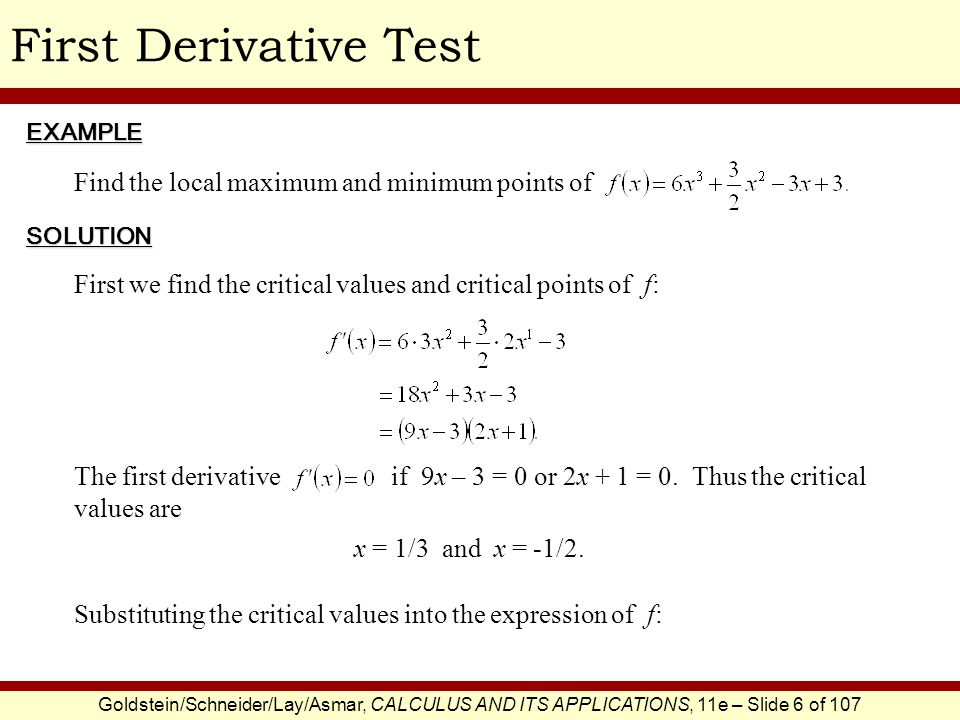 First Derivative Test Find the local maximum and minimum points of