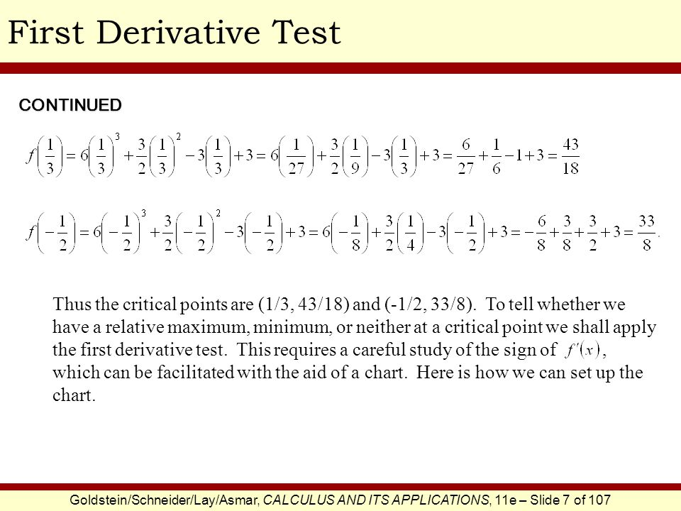 First Derivative Test CONTINUED.
