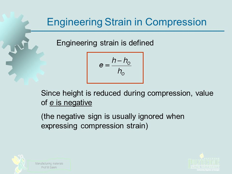 Engineering Strain in Compression