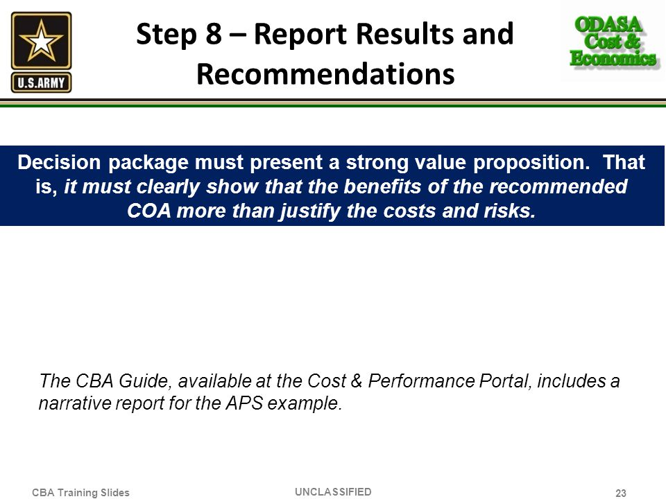 Step 8 – Report Results and Recommendations