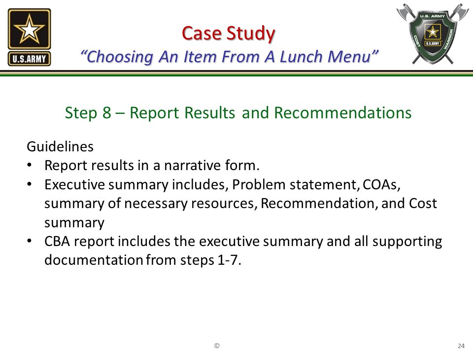 Case Study Choosing An Item From A Lunch Menu