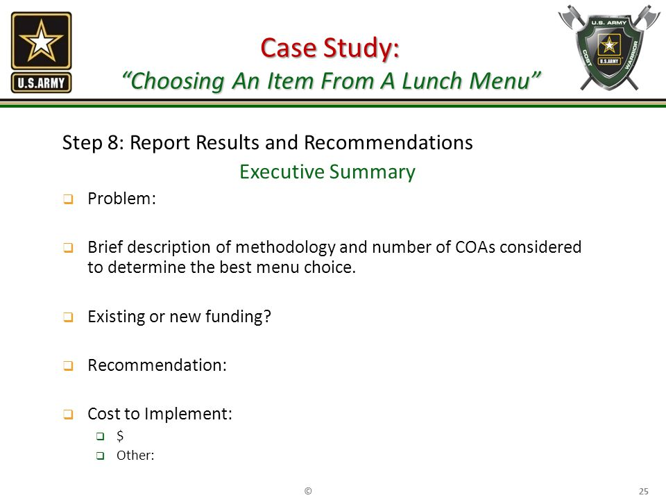 Case Study: Choosing An Item From A Lunch Menu