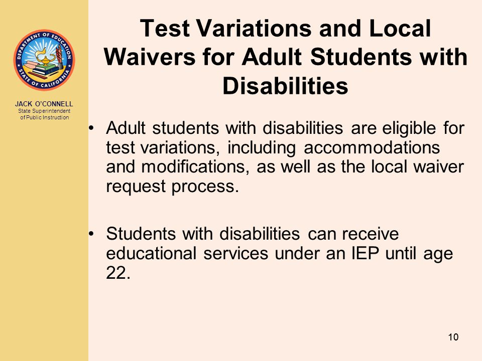 Test Variations and Local Waivers for Adult Students with Disabilities
